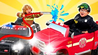 Kids Play on FIRE Trucks and Police Cars