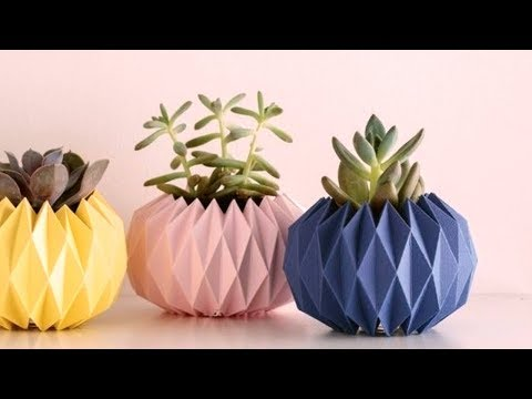 How To Make A Flower Vase Out Of Paper | Diy Origami Vase
