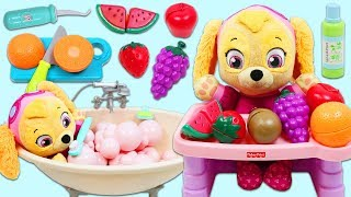 Paw Patrol Pup Baby Skye Morning Routine of Bath Time and Toy Fruit Breakfast!