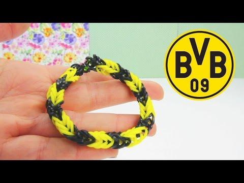 Rainbow Loom BVB / Borussia Dortmund Armband Fussball Loom Band Anleitung | deutsch