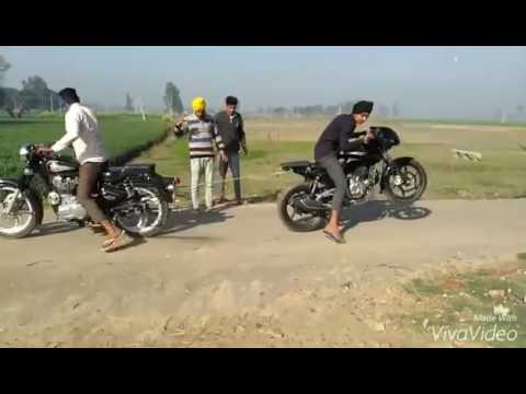 Download Royal Enfield Bullet Vs Man Power Test Motorcycle Stunt