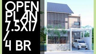 Rumah diatas lahan 7,5x17m dengan Open Plan [kode 015]