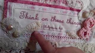 Wall Hanging In Pink And Cream With Vintage And Antique Laces