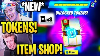 """STREAMERS REACT TO *NEW* """"UNLOCK TOKENS"""" (ITEM SHOP CHALLENGES) Fortnite"""