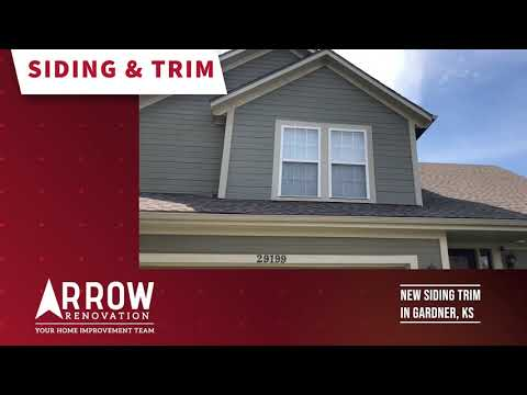Arrow Renovation replaced old siding and trim with LP SmartSide trim and siding around window in Gardner, KS.