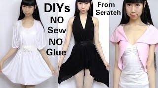 3 DIY NO Sew&NO Glue Clothes from Scratch: DIY Dress + V-neck Asymmetrical Dress + Mini Top