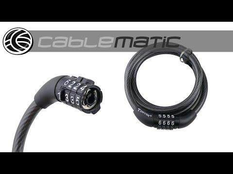 Cable de acero con candado para bicicleta 8x1200mm combinación distribuido por CABLEMATIC ®