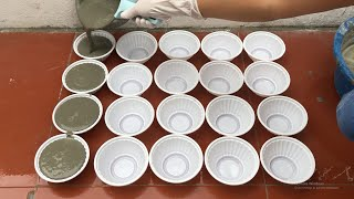 DIY- Cement Craft Ideas For Garden .Ideas For Making Flower  Pots From Plastic Bowls And Cement.