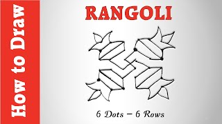 How to Draw Rangoli Using 6 Dots -- 6 Rows