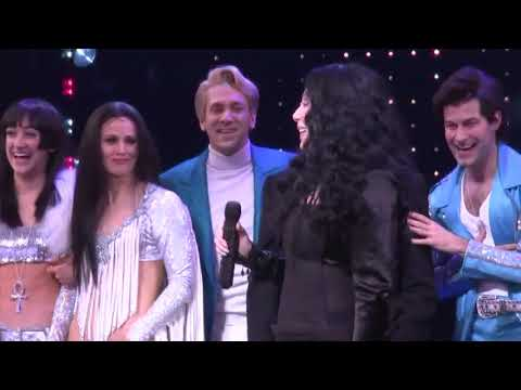 During the curtain call for the opening night of her Broadway musical at Neil Simon Theater, Cher came to the stage singing. (Dec. 4)