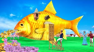 जादुई सुनहरी मछली का घर Giant Fish Golden House Funny Comedy Hindi Kahaniya Hindi Comedy Video