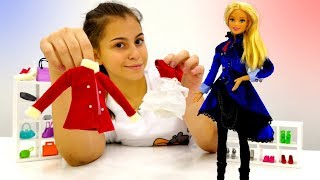 Видео для девочек - Новогоднее платье для Барби - Игры одевалки