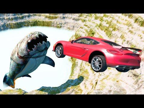 Beamng drive - Open bridge Jumps to Giant  Water Beast