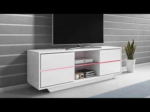 Mueble TV modelo Priot (130cm) color blanco - Todo el mueble en alto brillo