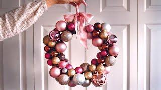 Make A Christmas Wreath With Baubles (Xmas Decoration Idea)
