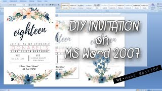 DIY INVITATION On MS Word 2007││Re Creating