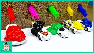 Tayo Bus Car Toy Change Learn Colors With Rainbow Paint for Kids Nursery Rhymes Song | MariAndToys