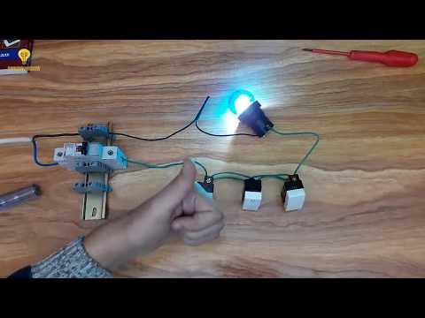 حلقة 4  -  الدوائر الكهربائية للمبتدئين  -  كيفية التحكم فى مصباح من ثلاث اماكن مختلفة