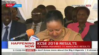 CS Amina Mohamed officially releases the 2018 KCSE results