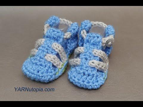 How to Crochet Tutorial: DIY Baby Hiking Sandals by YARNutopia