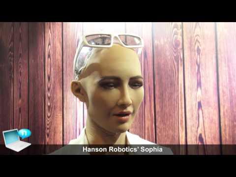 Hanson Robotics' Sophia humanoid robot with robotic arm and Intel Realsense