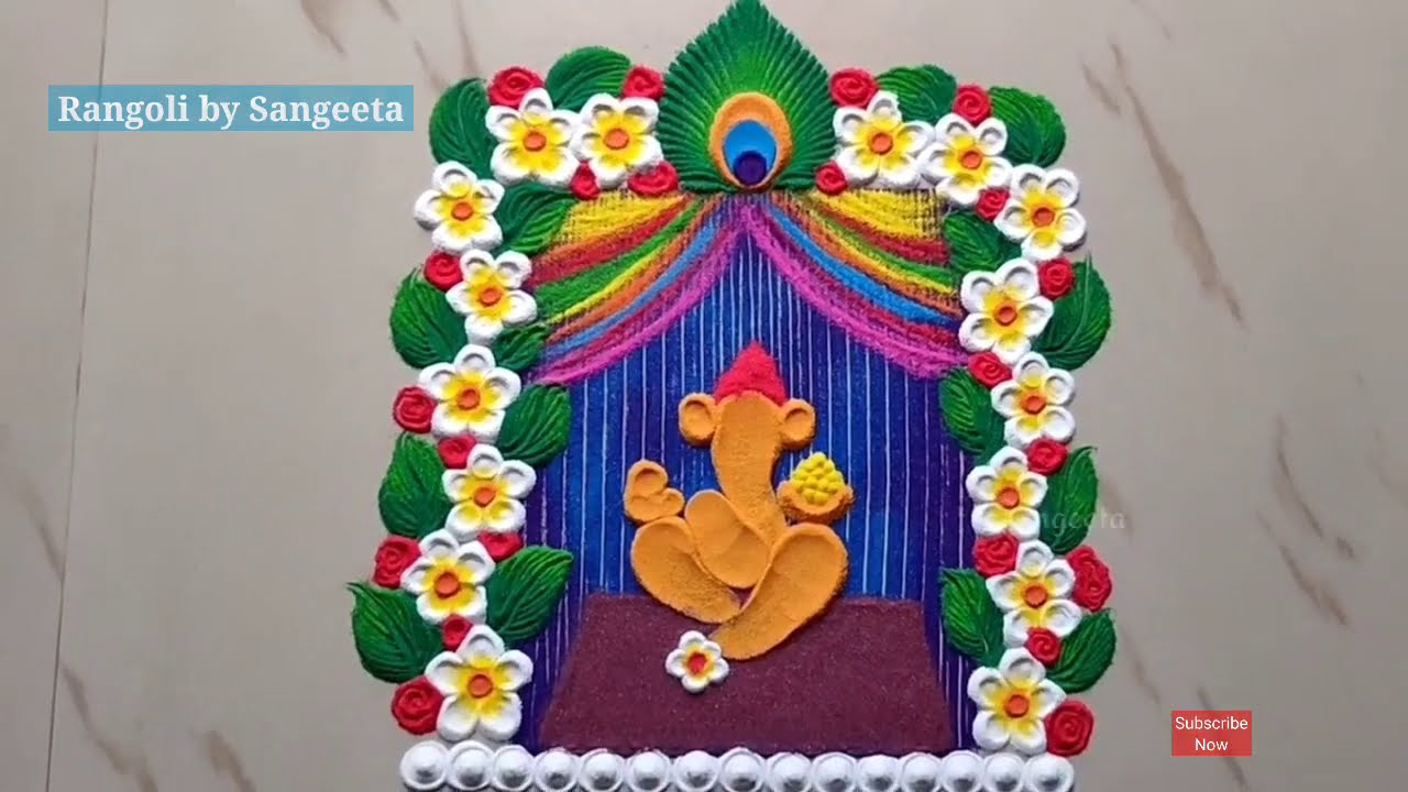 easy mutli colored ganesh chathurthi rangoli design by sangeeta