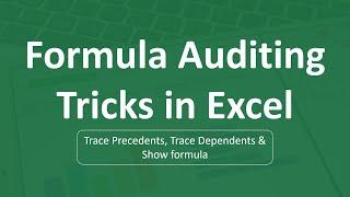 Formula Auditing Tricks in Excel   Excel Formulas