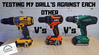 Testing My 18v Cordless Drills Against Each Other #hitachi #hikoki #stanleyfatmax #aeg #ridgid