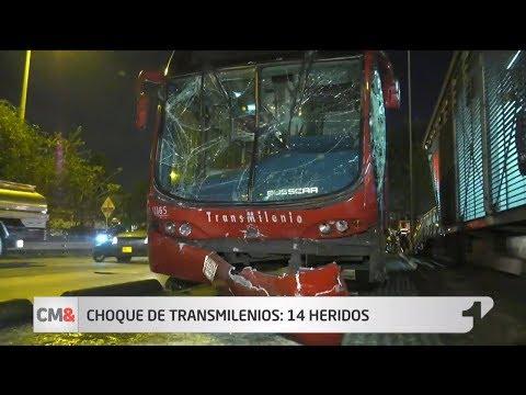 Hay 14 heridos por choque entre dos buses de TransMilenio 😱😱