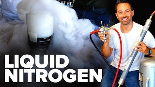 "I used a nitrogen membrane and Stirling cryocooler to liquefy nitrogen out of the air. For this video I partnered with Starbucks to celebrate their Nitro Cold Brew. Order one here: https://starbucks.app.link/derekmuller  Making liquid nitrogen is hard - in fact up until 150 years ago scientists doubted whether it was even possible to liquefy nitrogen. In 1823, At the royal institution in London, Michael Faraday first produced liquid chlorine, kind of accidentally by putting it under high pressure. He similarly liquefied ammonia.  Borrowing a mixture from Thilorier in France, a combination of dry ice, snow and ether, he reached a temperature of -110C. By 1845 he used this mixture plus a hand pump to pressurize gases to liquefy all the known gases except six, which included oxygen and nitrogen. These became known as the ""permanent"" gases.  A French Physicist Aimé compressed oxygen and nitrogen in tanks and then lowered them into the ocean over 1.6km deep, where the pressure got up to 200 atmospheres. Still the gases didn't liquefy.  Only at the end of 1877 were the first droplets of liquid oxygen and liquid nitrogen produced, by Cailletet in France. He first tried oxygen by compressing it up to 300 atmospheres, cooled to -30C, but that wasn't even enough to liquefy oxygen. But when he suddenly released the pressure, the expanding gas cooled, he estimated to -200C and he saw a mist and then droplets slide down the walls of his vessel.  It's amazing how far we've come in that now I can purchase a helium-based cryocooler. It compresses and expands the gas to absorb heat from the tip of the cold finger and eject it into the surroundings at ambient temperature."