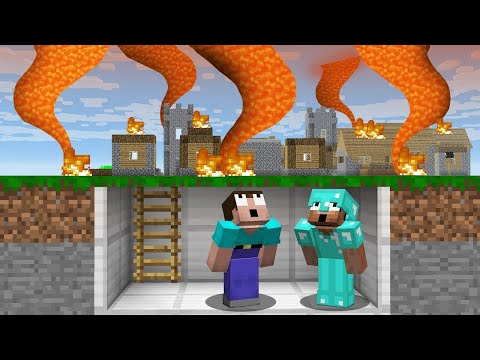 HOW to SURVIVE a NOOB and PRO FROM a LAVA TORNADO? in Minecraft Noob vs Pro