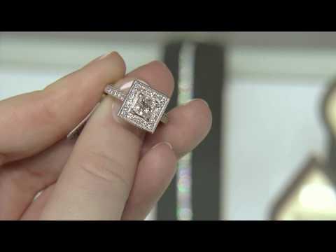 1.10ct Pave Set Princess Cut Halo Engagement Ring HD006