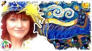 Live How To Paint Van Gogh Starry Night With Tardis From Doctor Who Art Lesson | TheArtSherpa