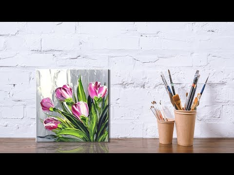 Paint Tulip flowers with Acrylic Paints and a Palette Knife PART 1
