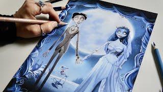 Drawing Tim Burtons Corpse Bride - Halloween Art 🎃
