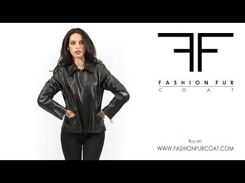 7433 Giacca donna in pelle nera Inmoda con doppia zip e tasche nuova collezione 2015