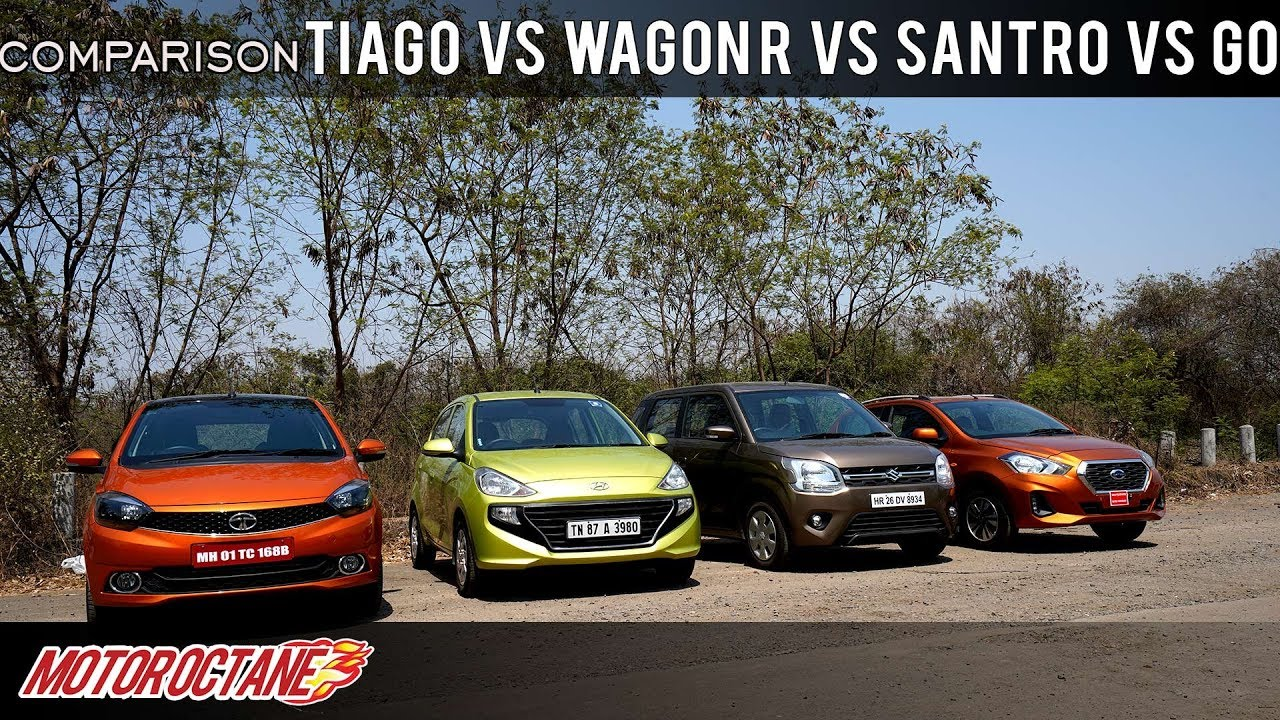 Motoroctane Youtube Video - Tata Tiago vs Maruti Wagon R vs Hyundai Santro vs Datsun Go Comparison | Hindi | MotorOctane
