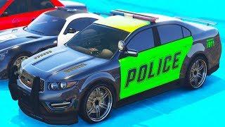 Police Cars and Real City Heroes in a Race with Supercars and Rally Car. Video for Toddlers & Kids