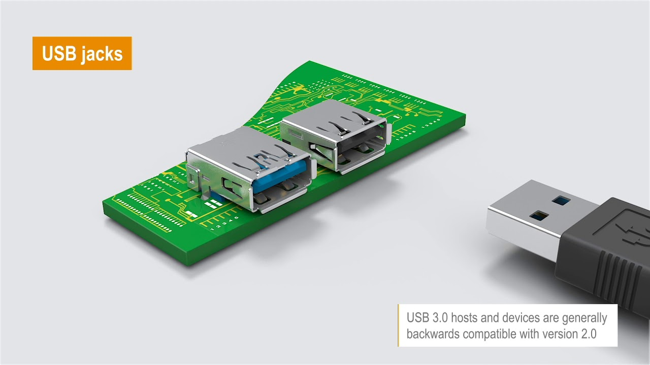 USB 3.0 jacks support a data rate up to 5 Gbit/s for fast data transfer