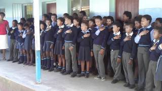 School Children sing Nkosi Sikelel' iAfrika ( The South African National Anthem)