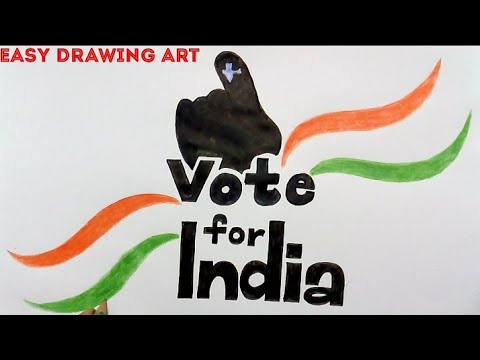 how to draw vote for better India poster for kids