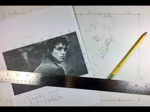 Drawing from a reference using a grid system (Part 1, feat. Eddie Redmayne)