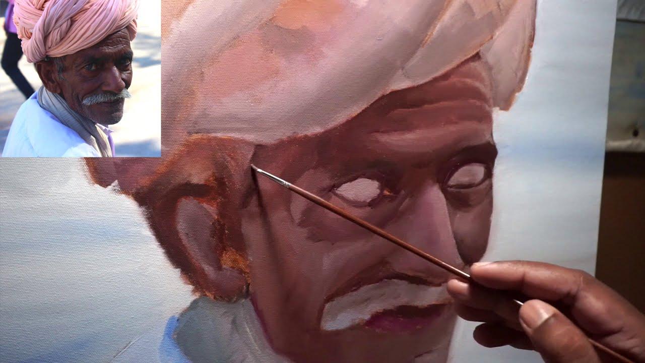 realistic portrait oil painting by pv hanumanthu