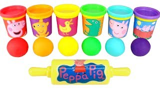 Play Doh Learn Colors for Kids with Fun Molds Peppa Pig & Candy Surprise Cups with LOL Surprises
