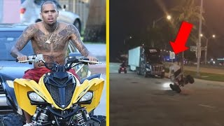 """Chris Brown """"Almost Crashes Quad Into Truck Trying To Flex On Meek Mill"""""""