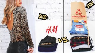 $100 THRIFT HAUL vs $100 from H&M ☆ (you won't believe it)