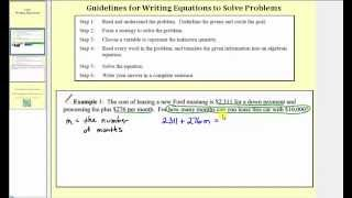 Writing Linear Equations  to Solve Applications (L6.1)