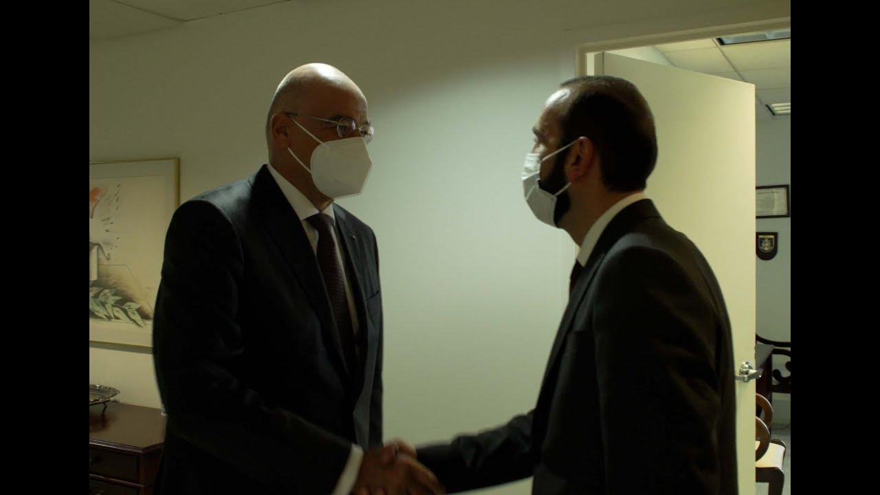 Арарат Мирзоян представил министру иностранных дел Греции ситуацию, сложившуюся вследствие развязанной против Арцаха азербайджано-турецкой агрессии