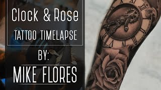 Realistic Clock And Rose Tattoo Time Lapse - Mike Flores