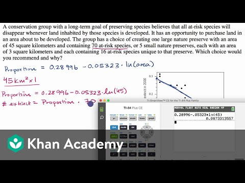 Worked example of linear regression using transformed data (video